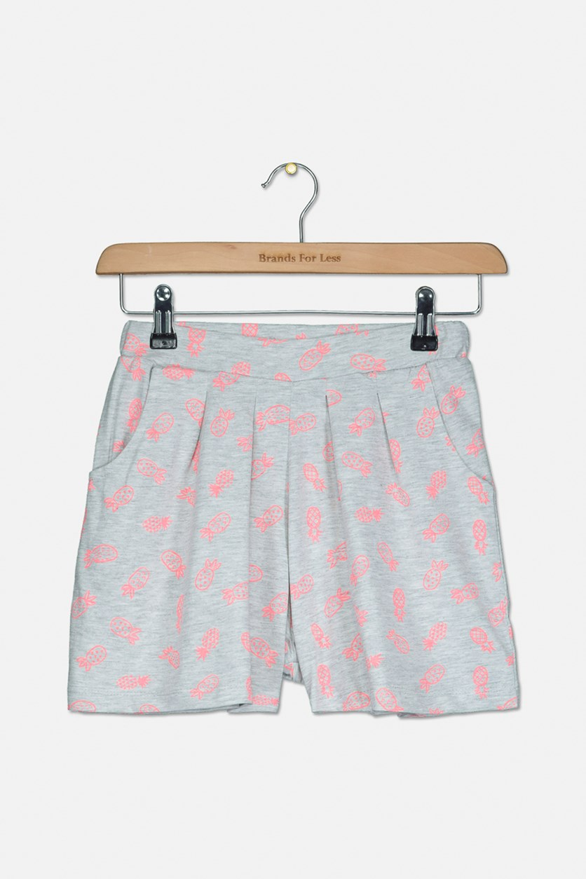 Girl's All Over Print Short, Grey