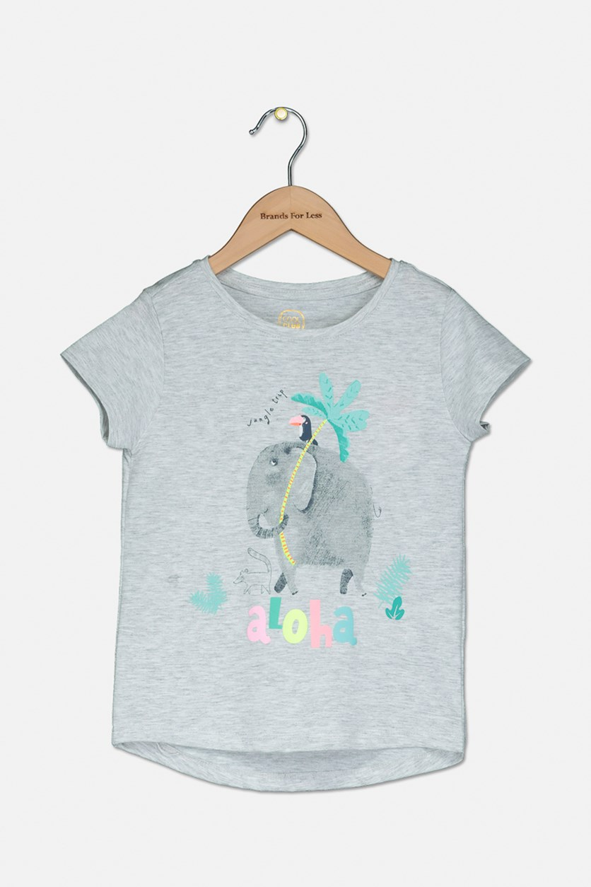 Kids Girl's Graphic Top, Grey