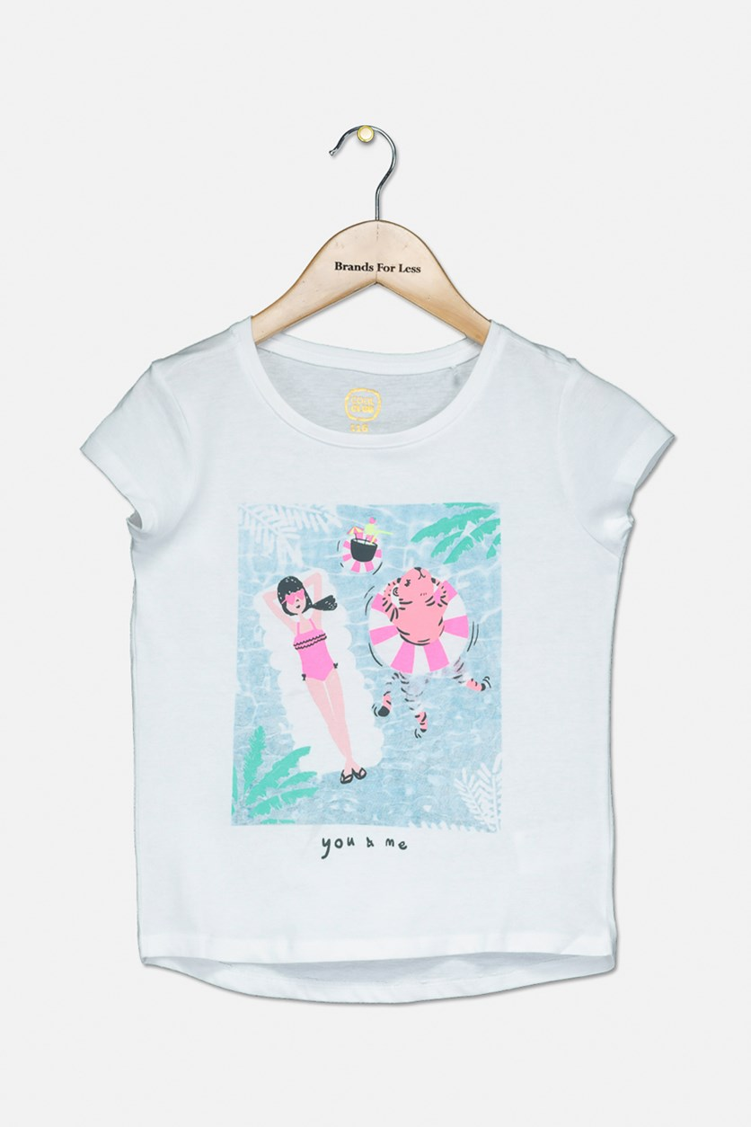 Girl's Graphic Top, White