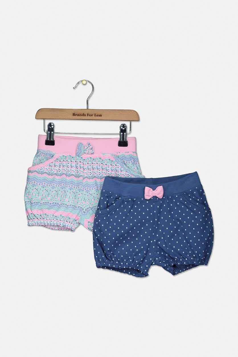 Toddler Girls 2-Pack Balloon Shorts, Pink/Indigo