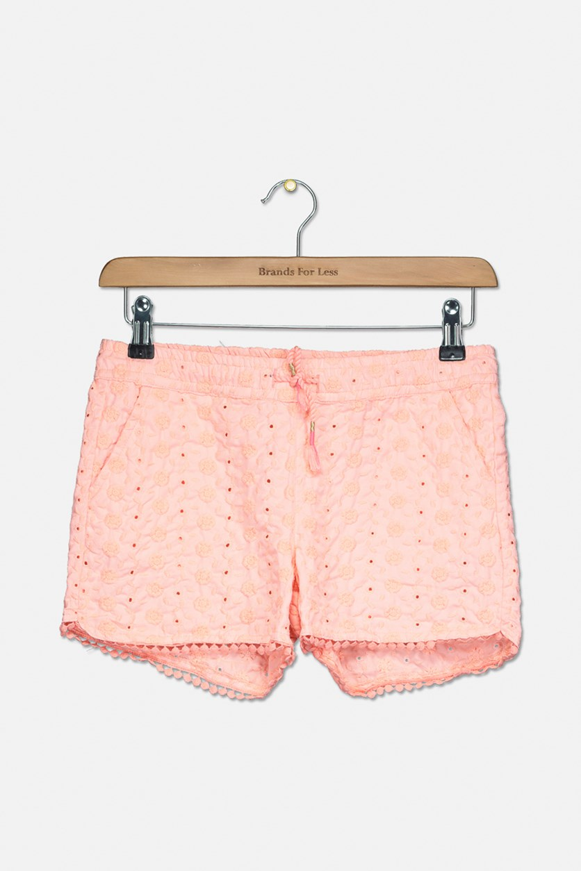 Big Girls Embroidered Shorts, Pink