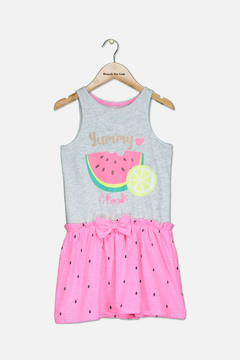 Kids Girls Graphic Dress, Heather Grey Combo