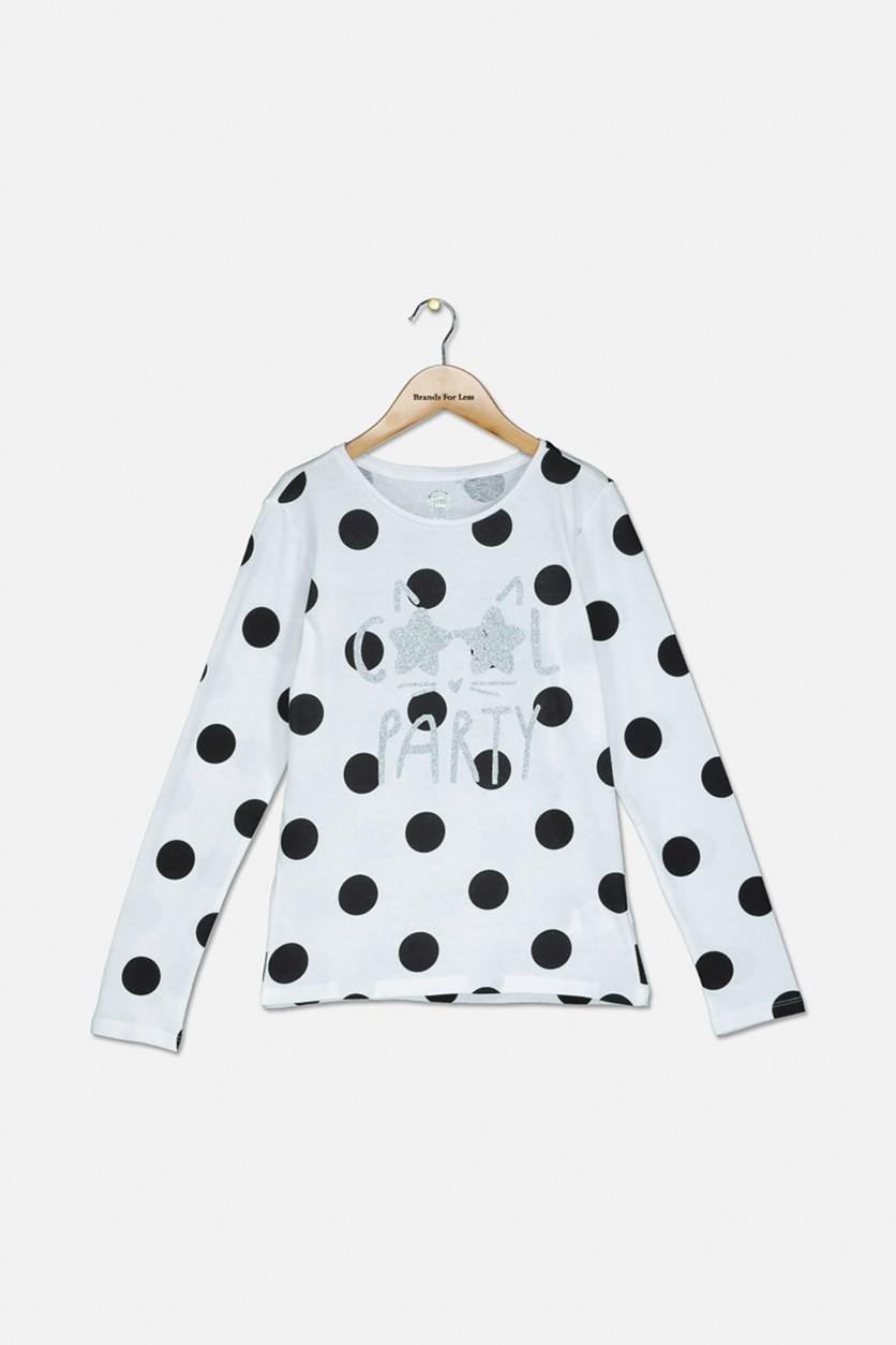Big Girls Polka Dots Long Sleeve Top, Black/White