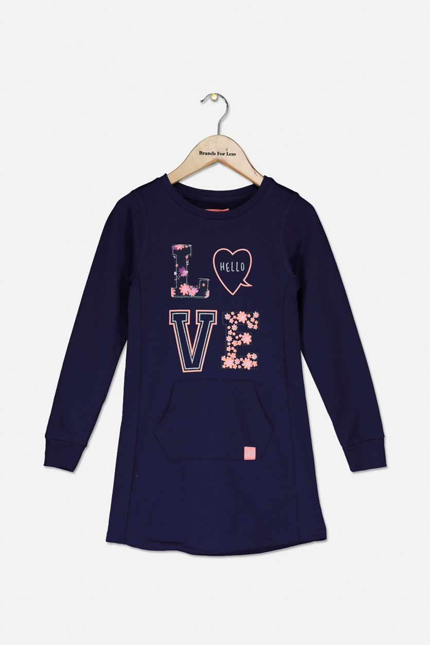 Kids Girls Long Sleeve Graphic Top, Navy