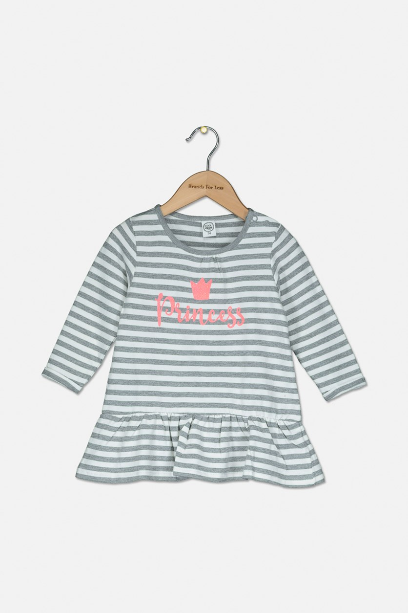 Toddler Girls Princess Stripe Pullover Longsleeve, Grey/White