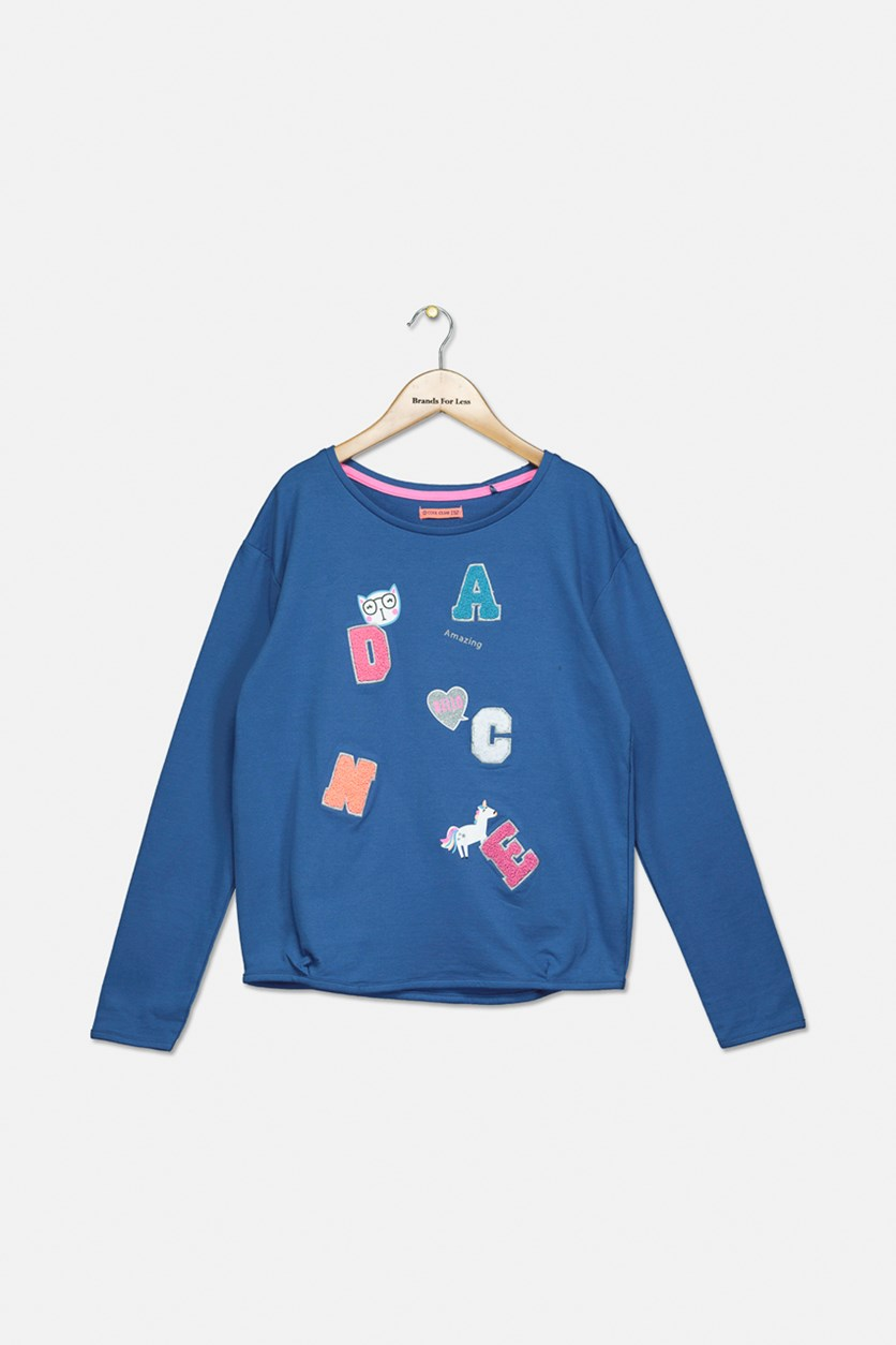 Girl's Dance Textured Pattern Pullover, Blue