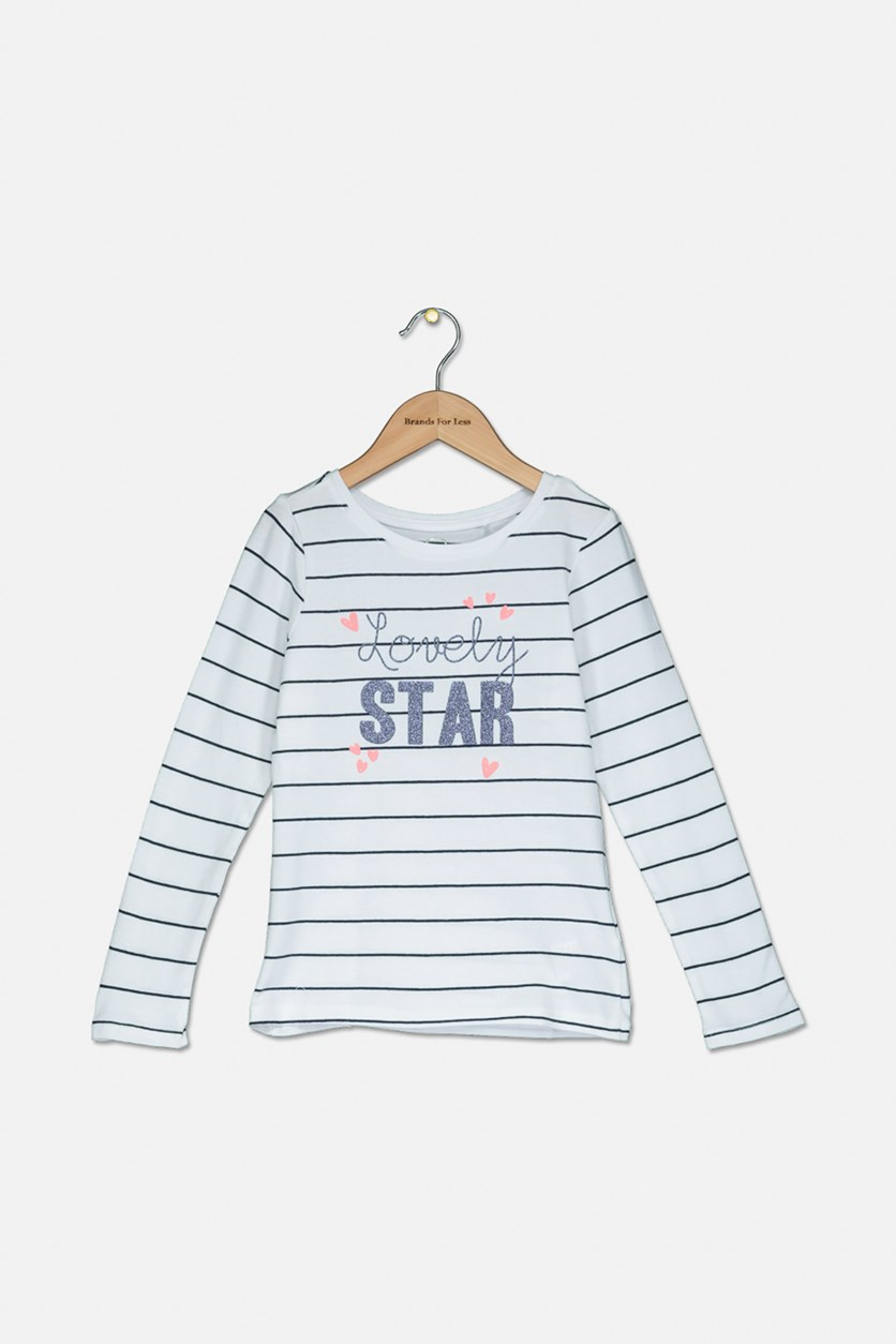 Girls Stripe Lovely Star Top, White