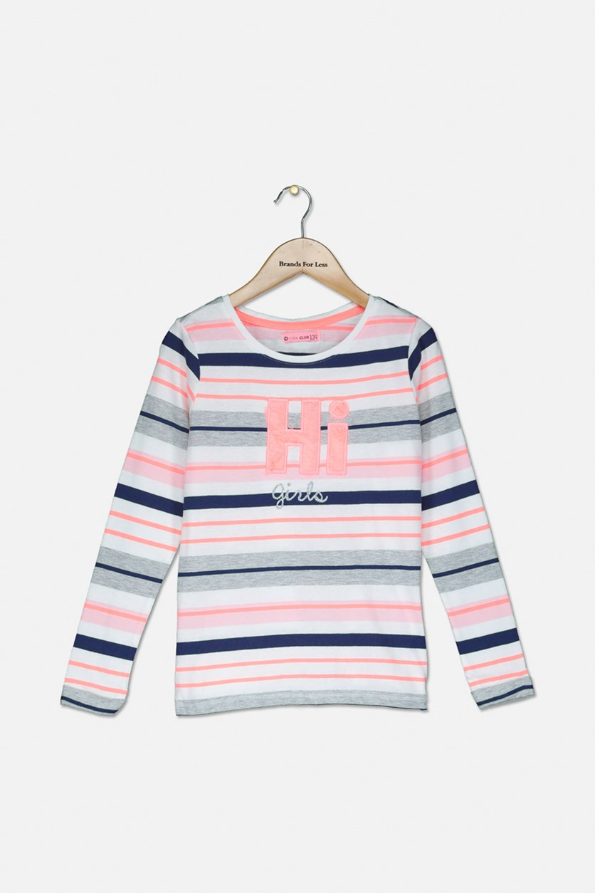 Girl's Stripe Pullover Long-sleeve, White/Pink Combo