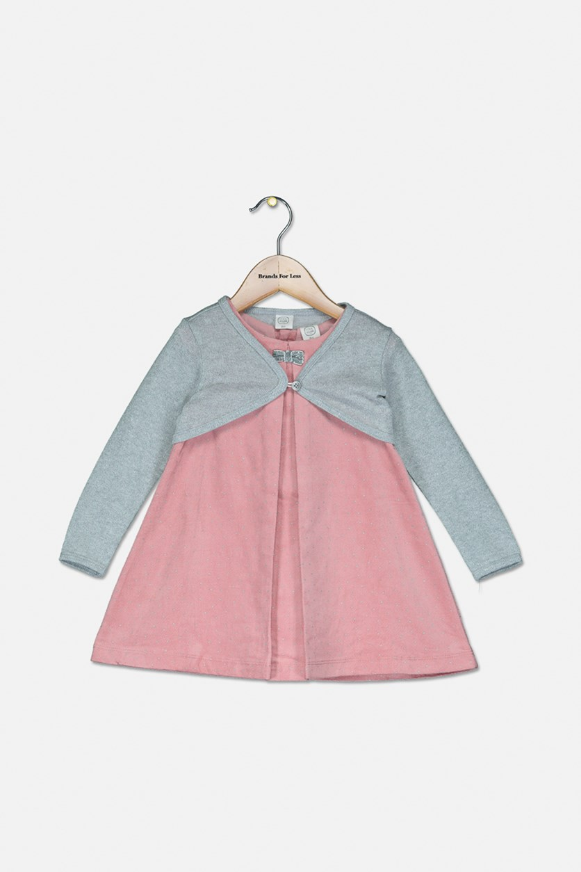 Baby Girl's 2Pcs Dress W/ Cardigan, Pink/Grey