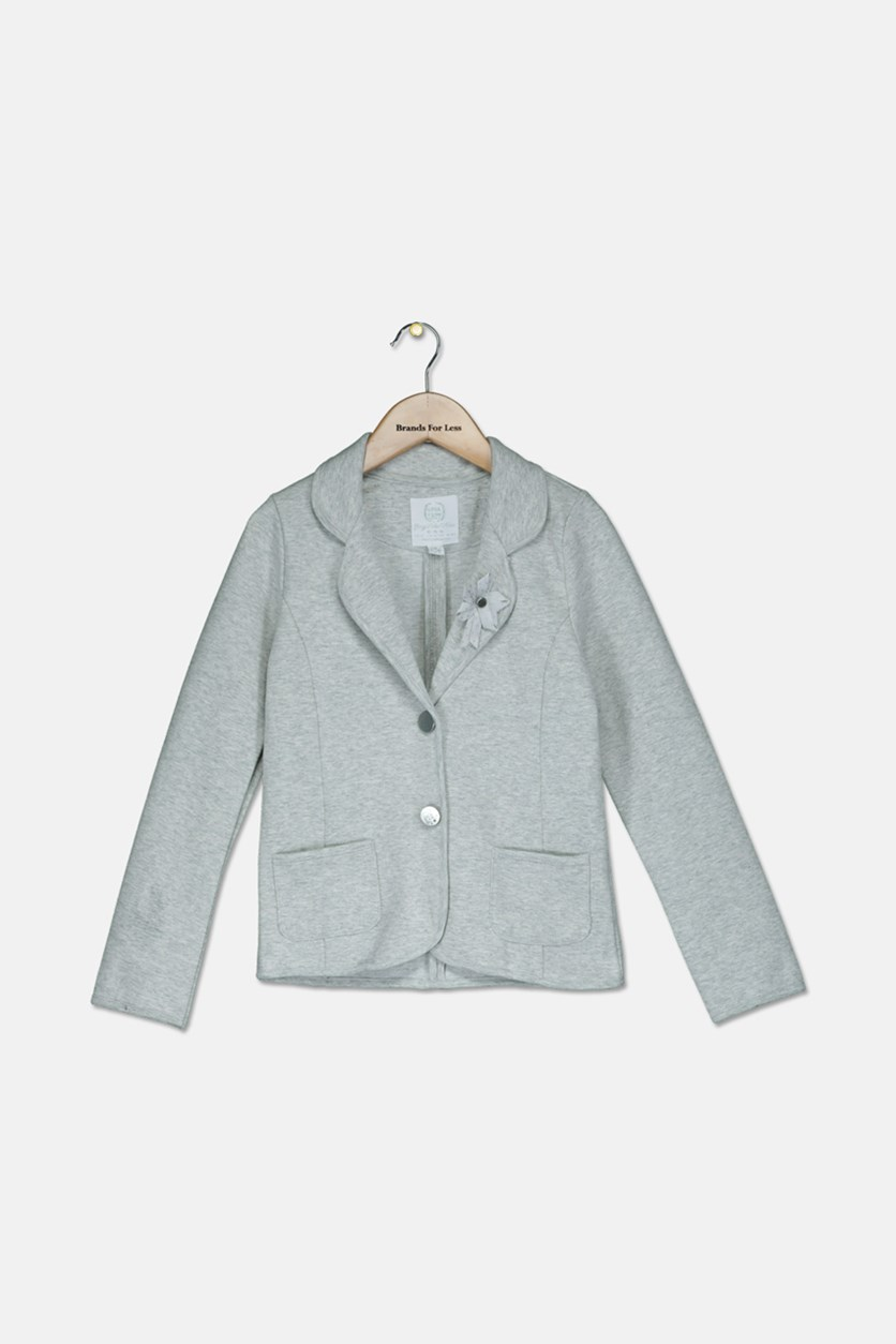 Kids Girls Long Sleeve Two Button Closure Jacket, Grey