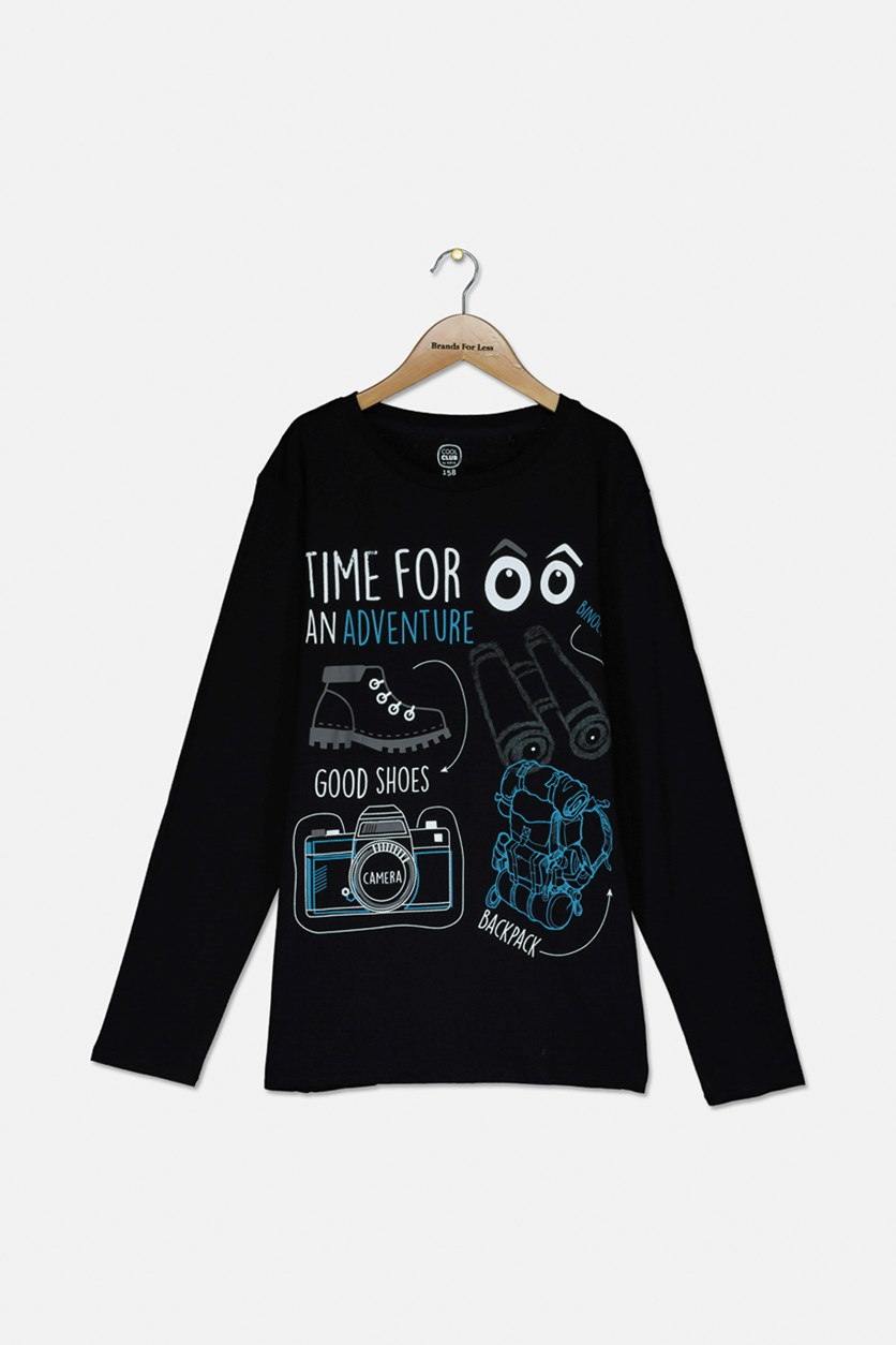 Boy's Graphic Longsleeve Pullover, BLack