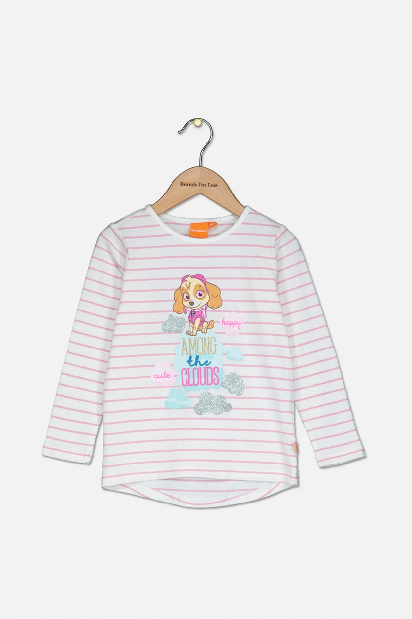 Toddler Girl's Long Sleeve Stripe Graphic Top, White/Pink