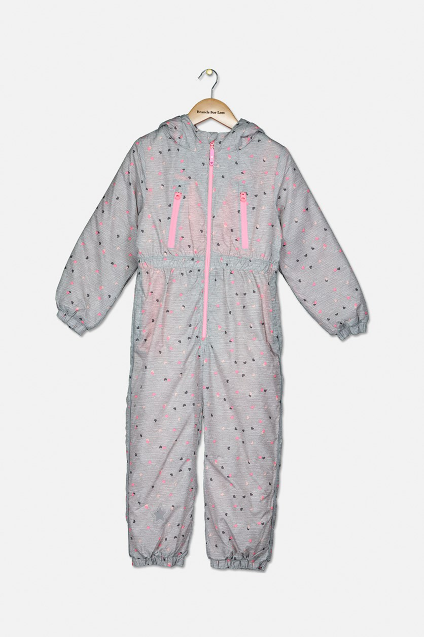 Girl's Heart Print Snowsuit, Grey/Pink