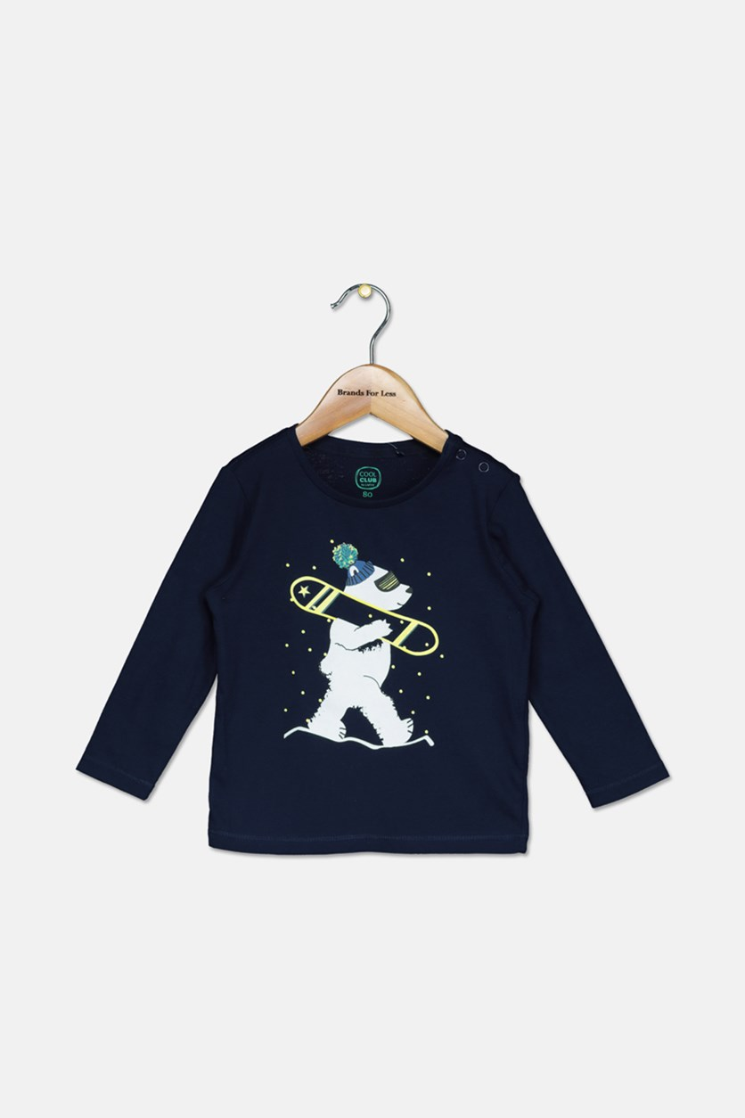 Toddler Boys Long Sleeve Graphic T Shirt, Navy