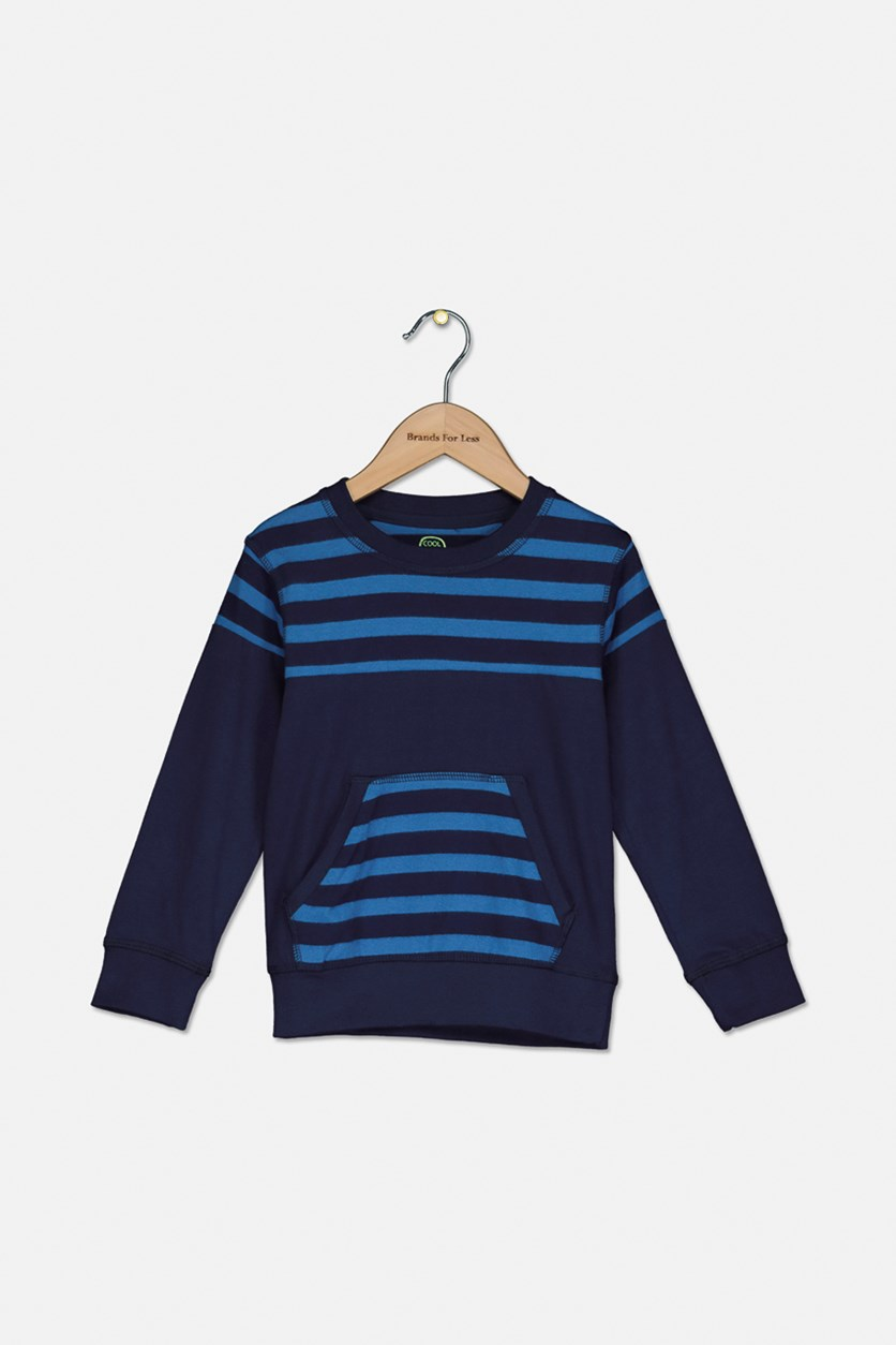 Little Boys Stripe Longsleeve With Front Pocket, Navy/Blue