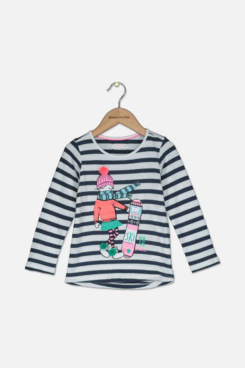 Toddler Girls Stripe SkiYa Later Print Top, Gray/White