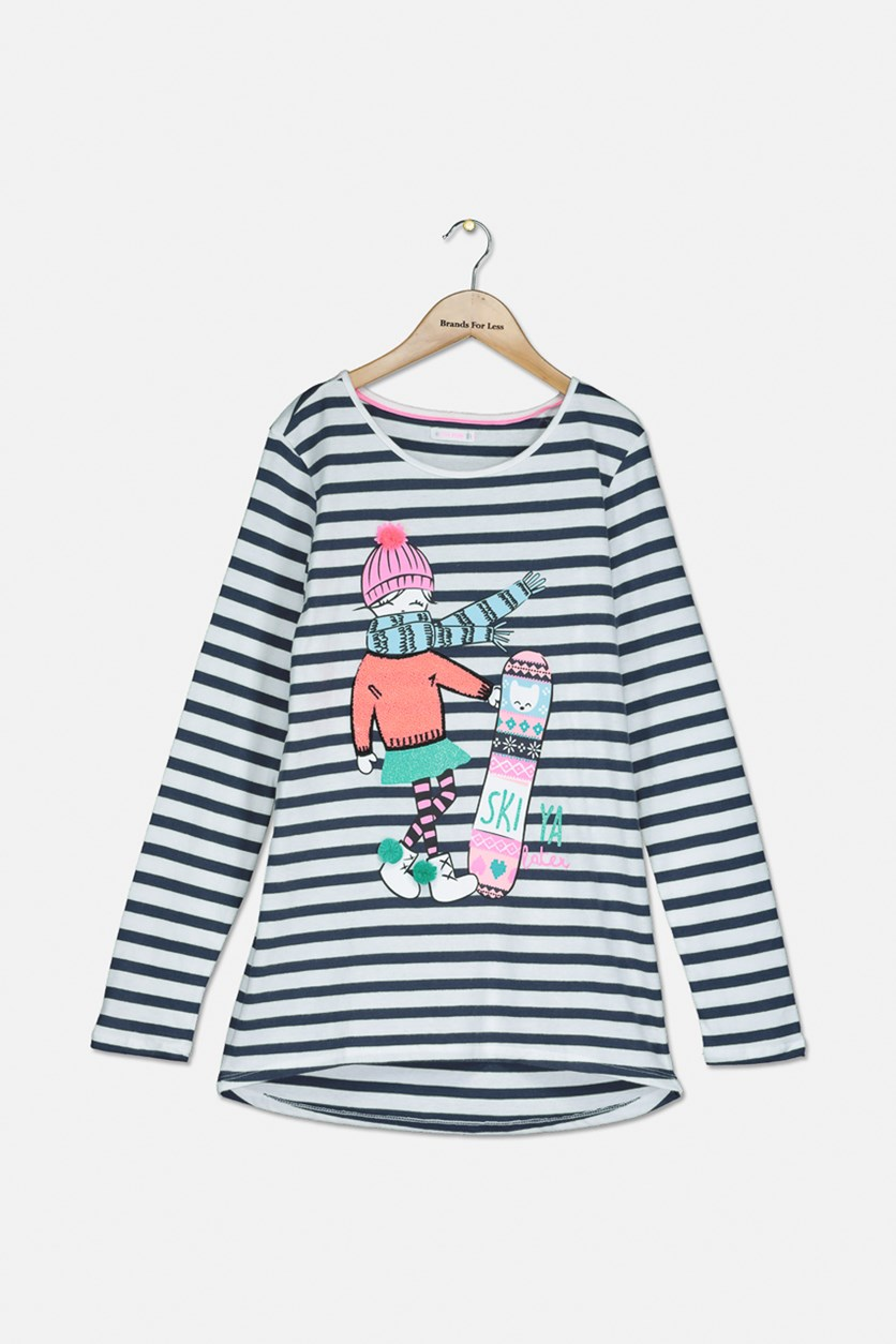 Girl's Striped Graphic Top, White/Navy