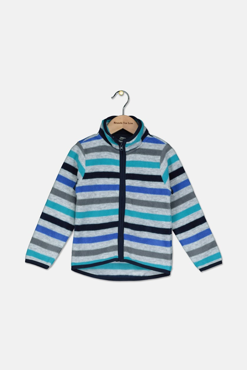 Toddler Boys Stripe Long Sleeve Jacket, Grey/Blue