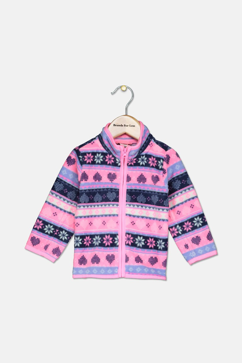 Toddler Girls Full Zip Long Sleeve Sweater, Pink/Navy