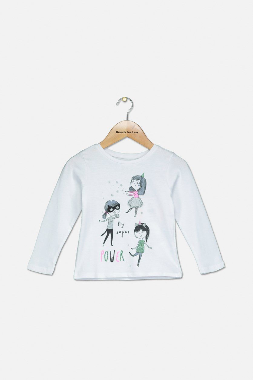 Toddler Girl's Graphic Long Sleeve Top, White
