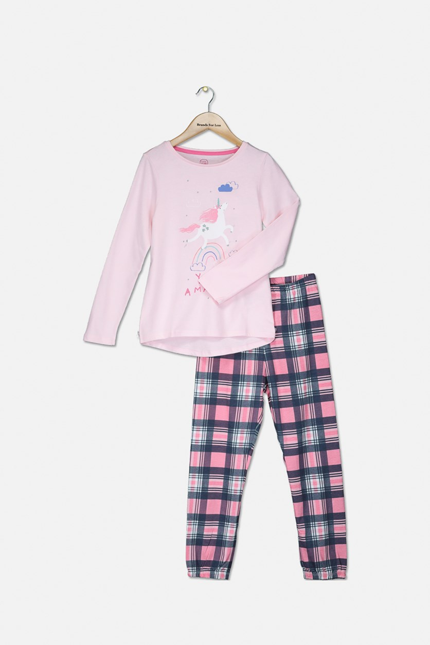 Girl's Unicorn Print Top And Pajama Sleepwear, Pink Combo