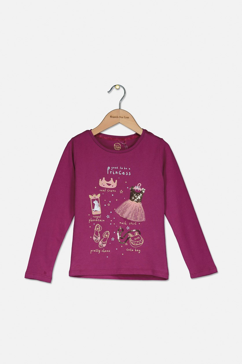 Kids Girl's Good To Be A Princess Long Sleeve Top, Purple