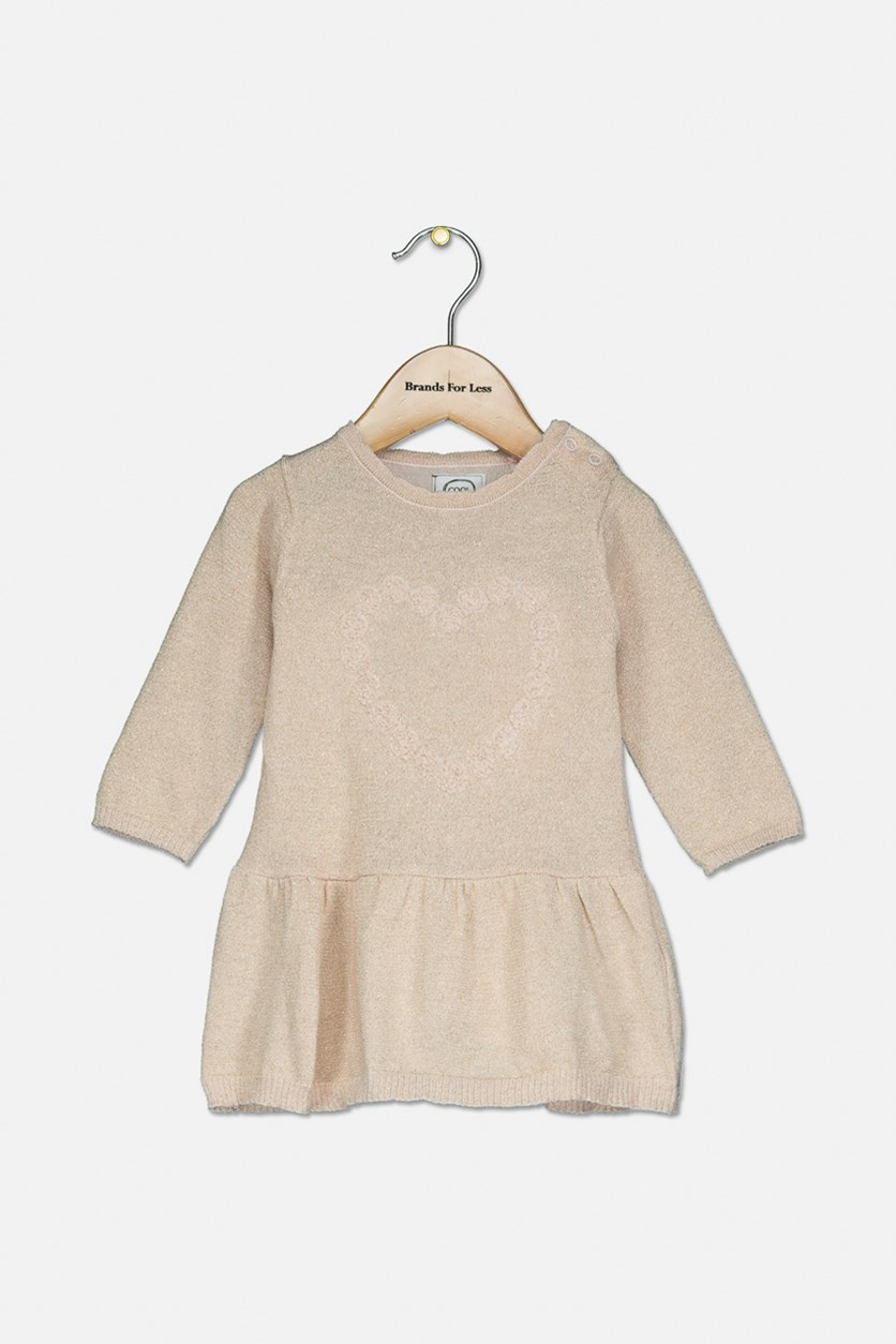Toddler Girl's Long Sleeve Dress, Peach