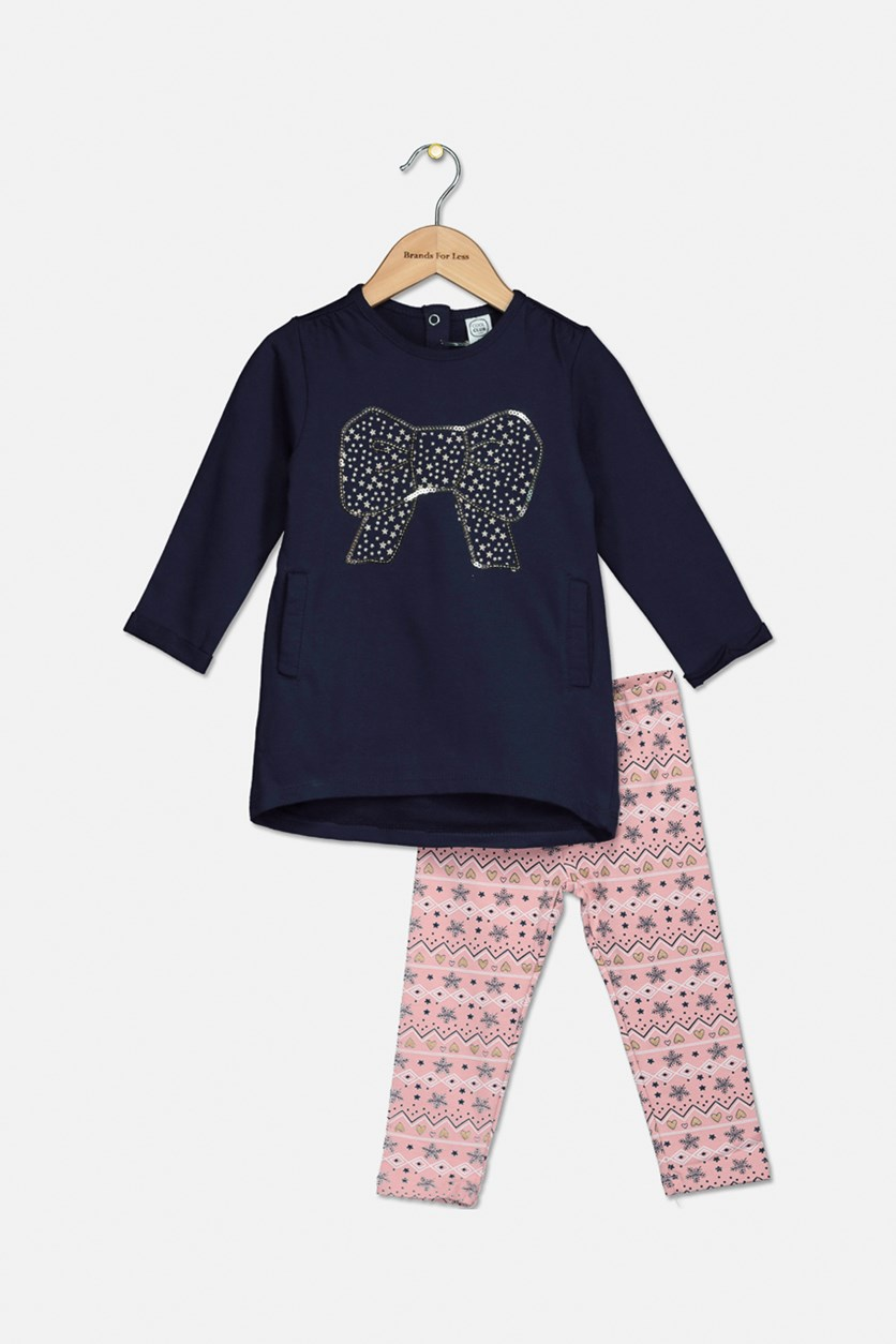 Baby Girls Longsleeve Top and Printed Legging Set, Navy/Pink Combo
