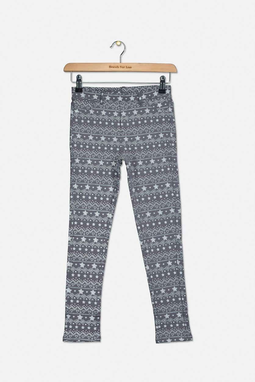 Kids Girls Printed Pants, Grey Combo