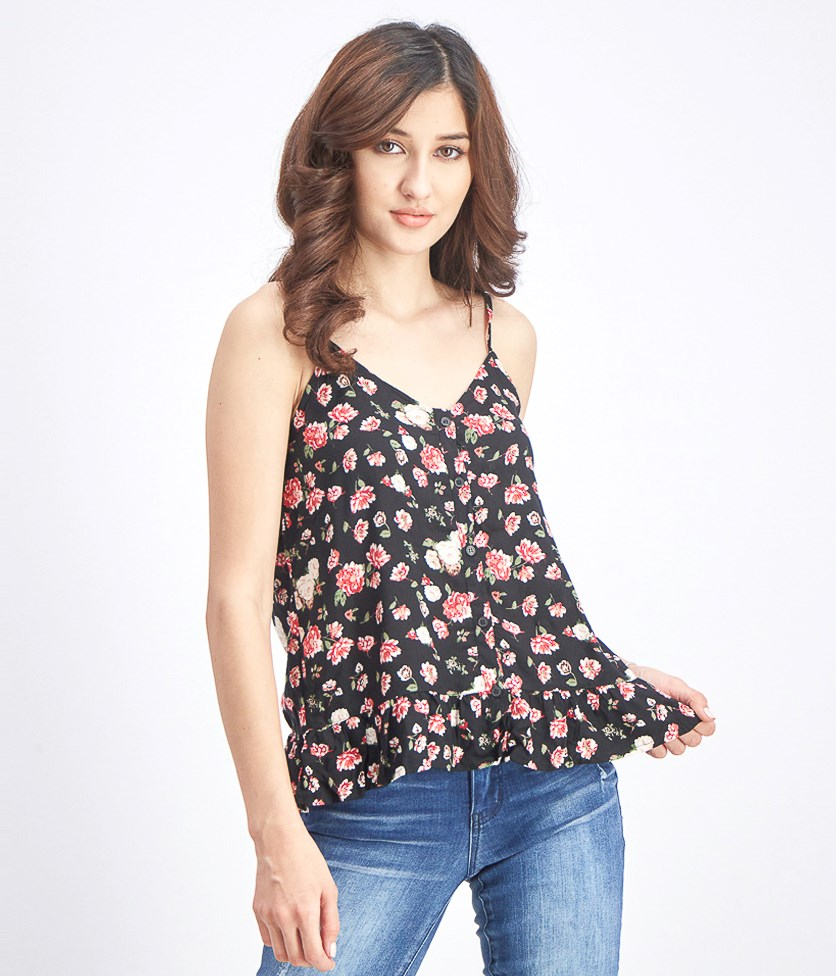 Women's Floral Print Tops, Black