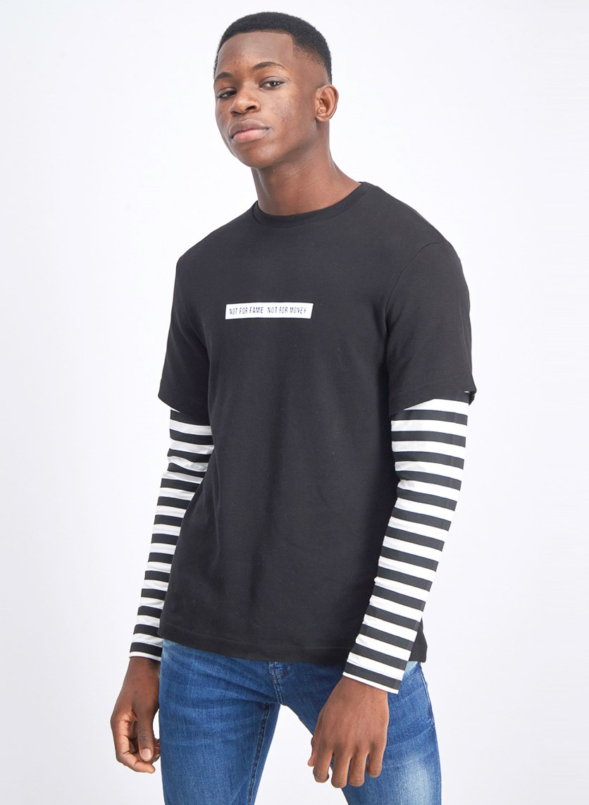 Men's Graphic Layered Sleeve T-Shirt, Black/White