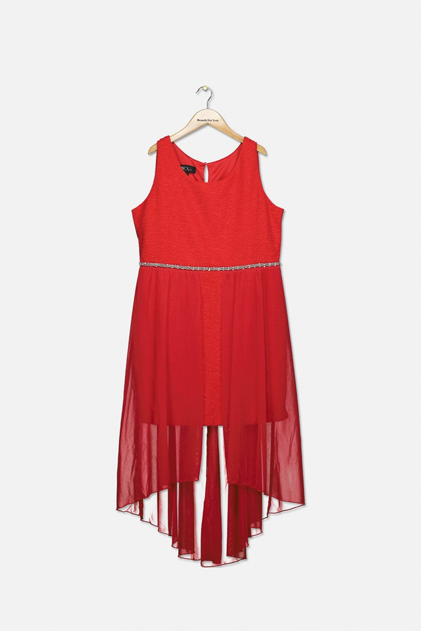 Big Girls Plus Glitter-Knit Overlay Dress, Red