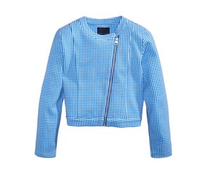 Tommy Hilfiger Girl's Cropped Gingham Moto Jacket, Blue