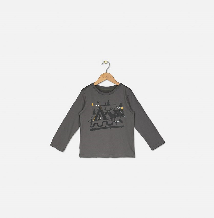 Kids Boy's Long Sleeve Graphic Printed Top, Charcoal