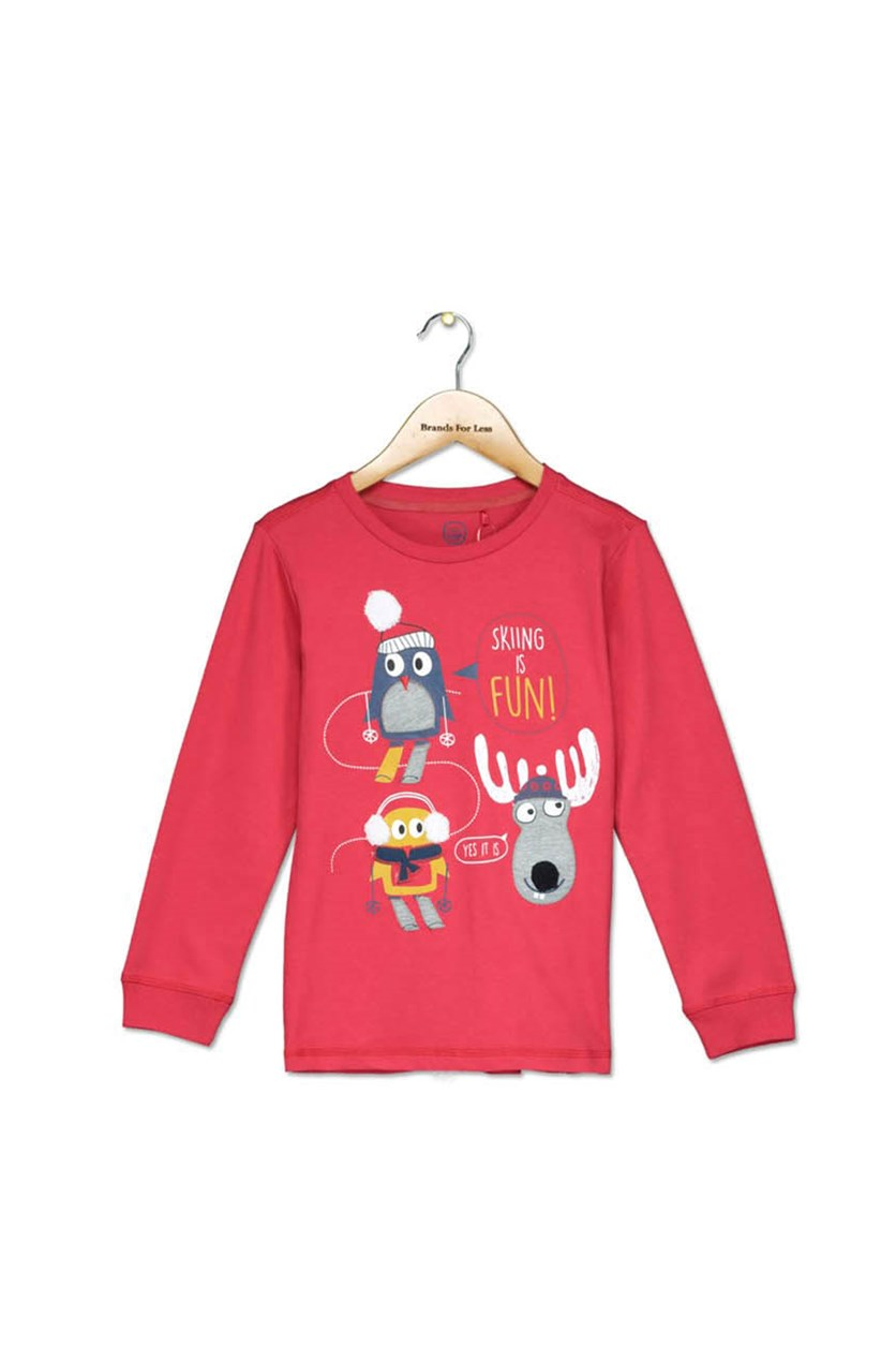 Toddler Boys Graphic Long Sleeve T Shirt, Red