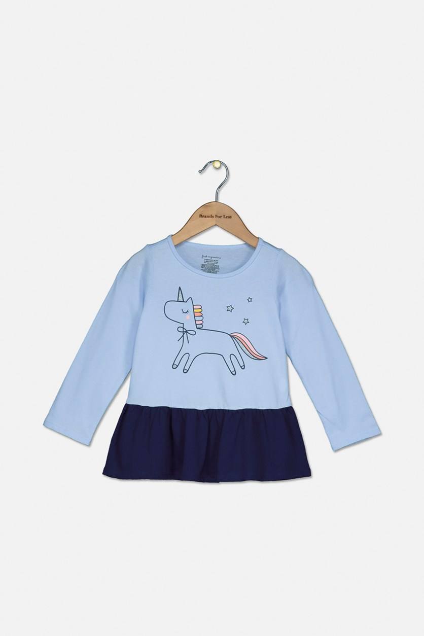 Baby Girls Unicorn-Print Peplum Tunic, Lunar