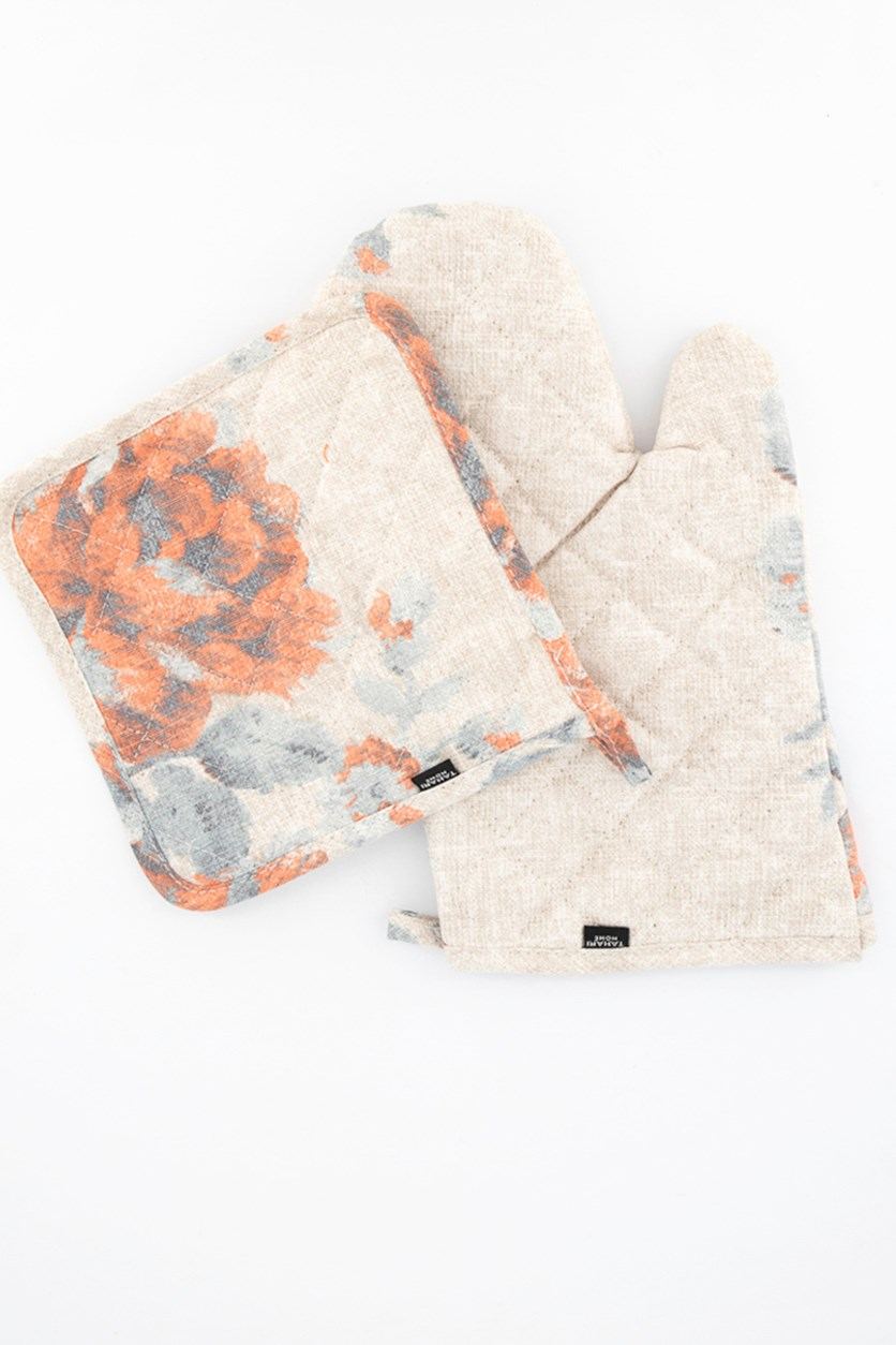 Oven Gloves And Pot Holder Set, Sea Spray Persia