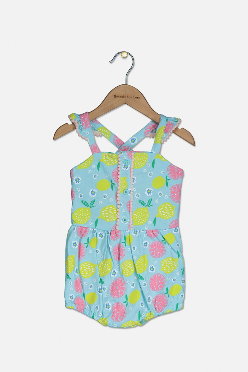 Toddler Girl's Printed Romper, Turquoise Combo