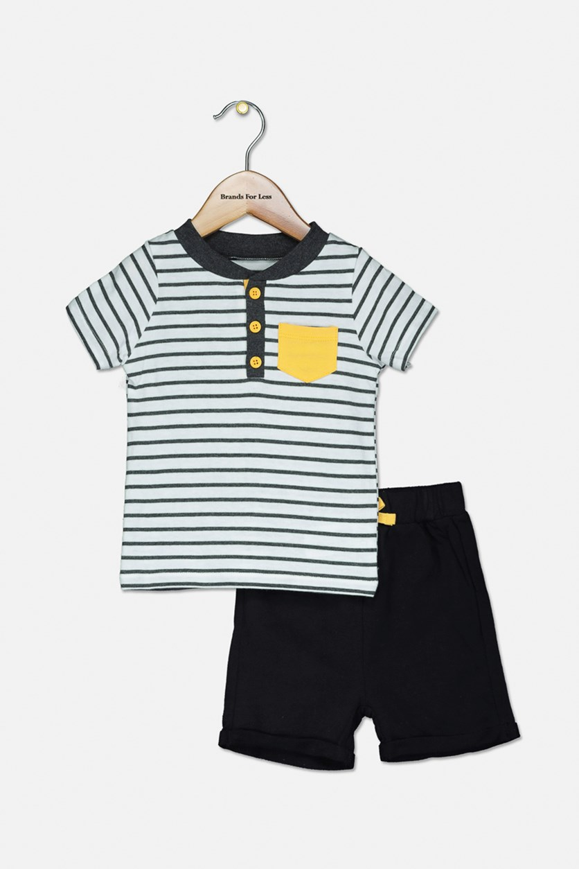 Toddler Boys Stripe Tee & Short, White Stripe/Black