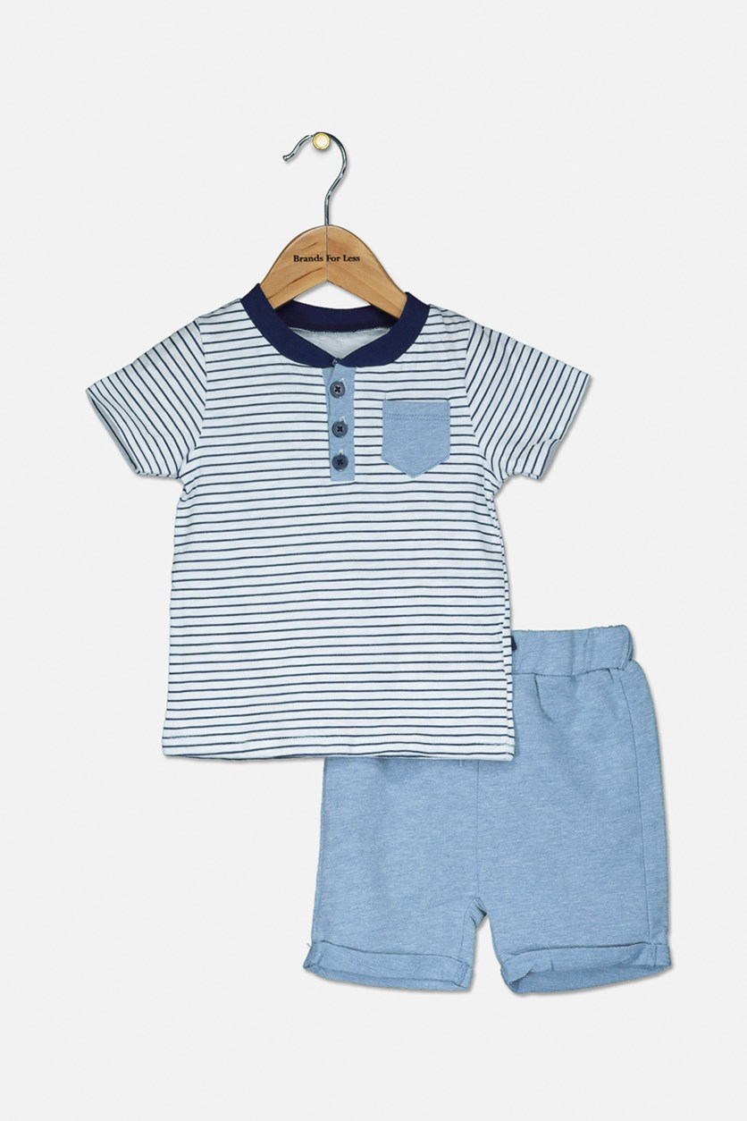 Boy's Tee And Shorts Set, Blue