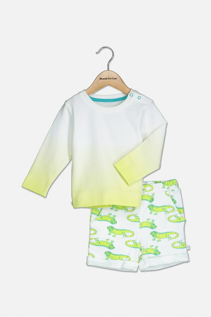 Toddler's Ombre Printed 2-Pieces Set, Lime Green