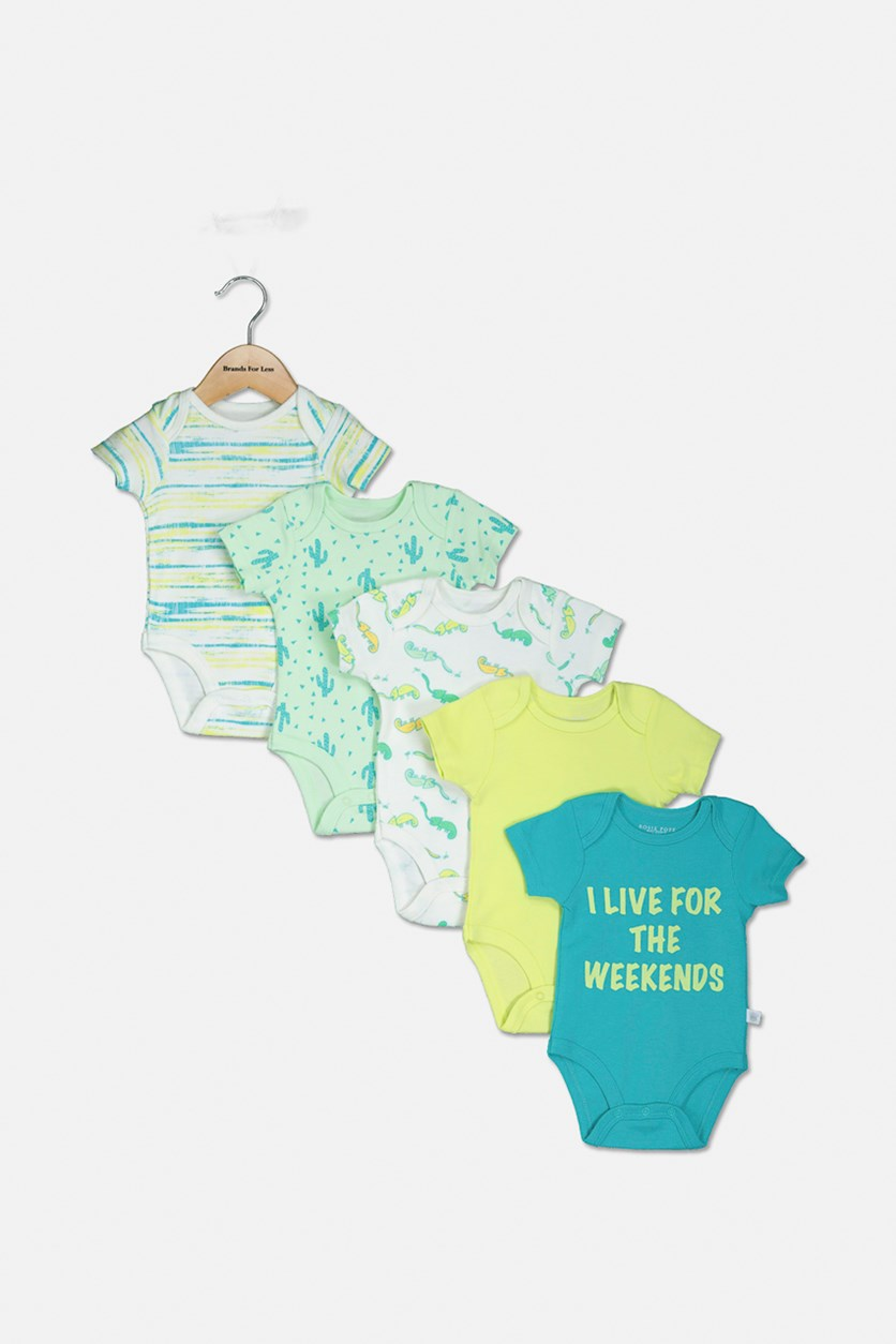 Toddler's Graphic print 5-Pack Bodysuit, Green Combo