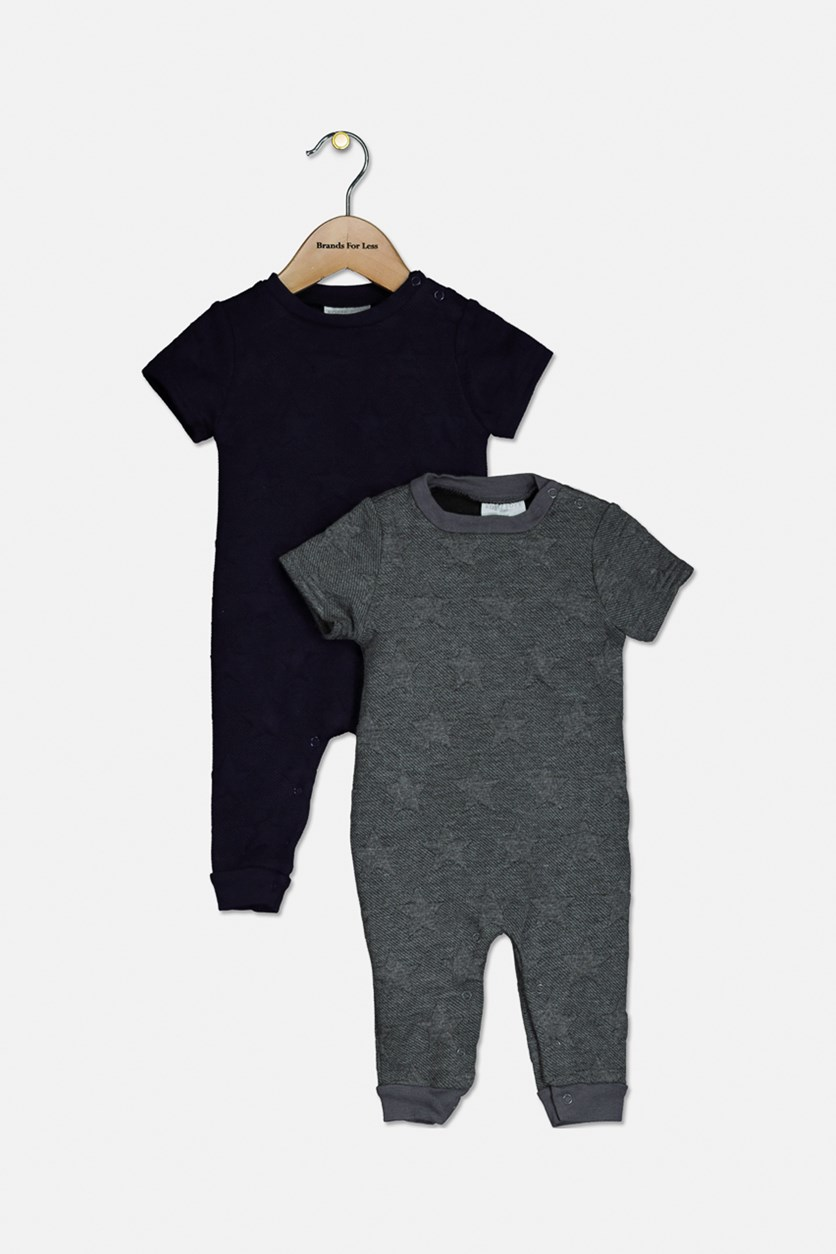 Baby Boys 2 Pack Romper, Stars, Navy/Grey