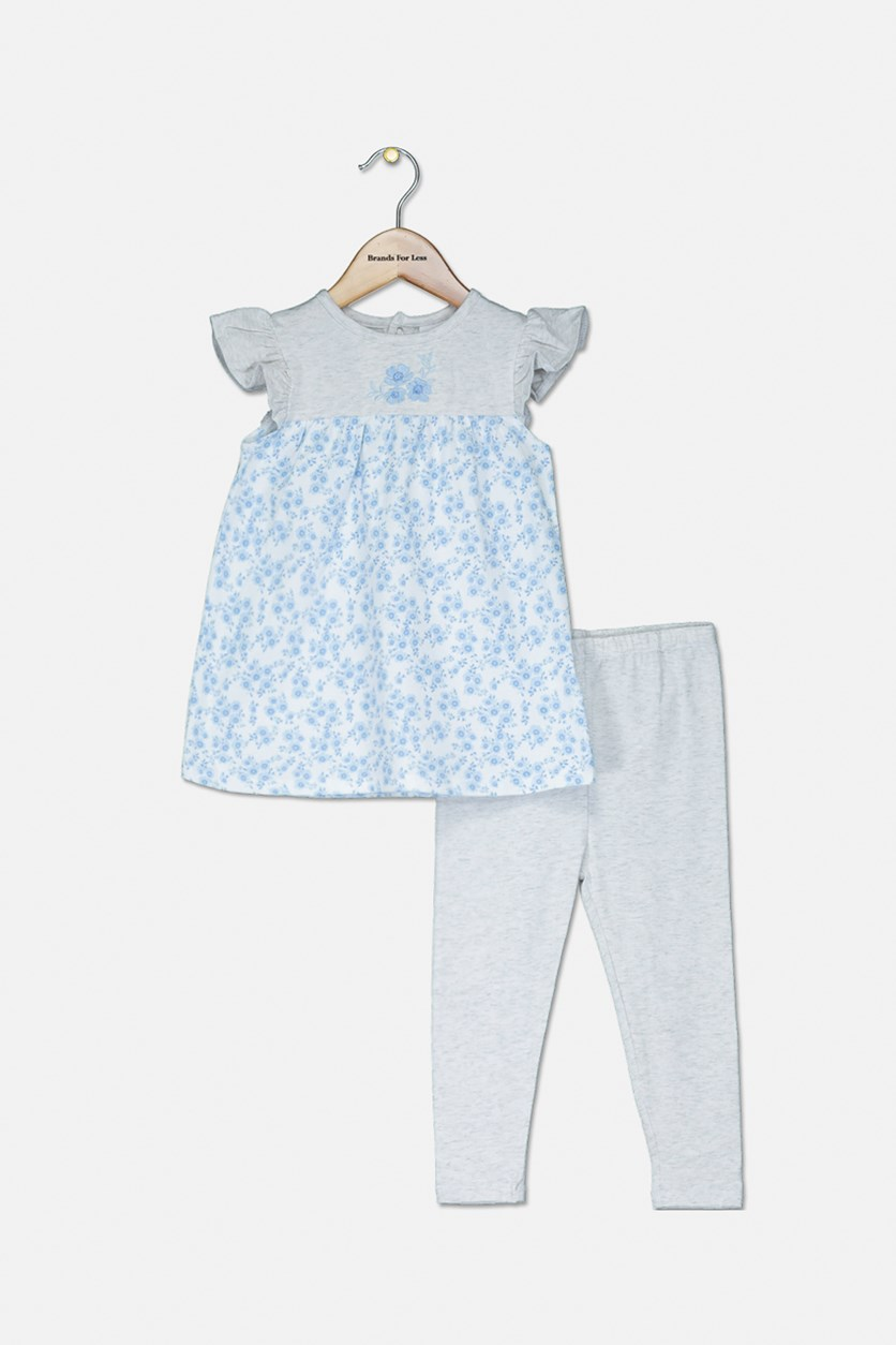 Toddler Girls 2-Pc Floral Top & Leggings Set, Gray/Blue