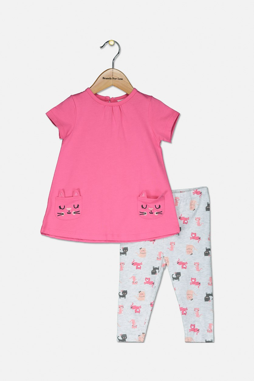 Toddler Girl's Top And Bottom Set, Pink/Grey