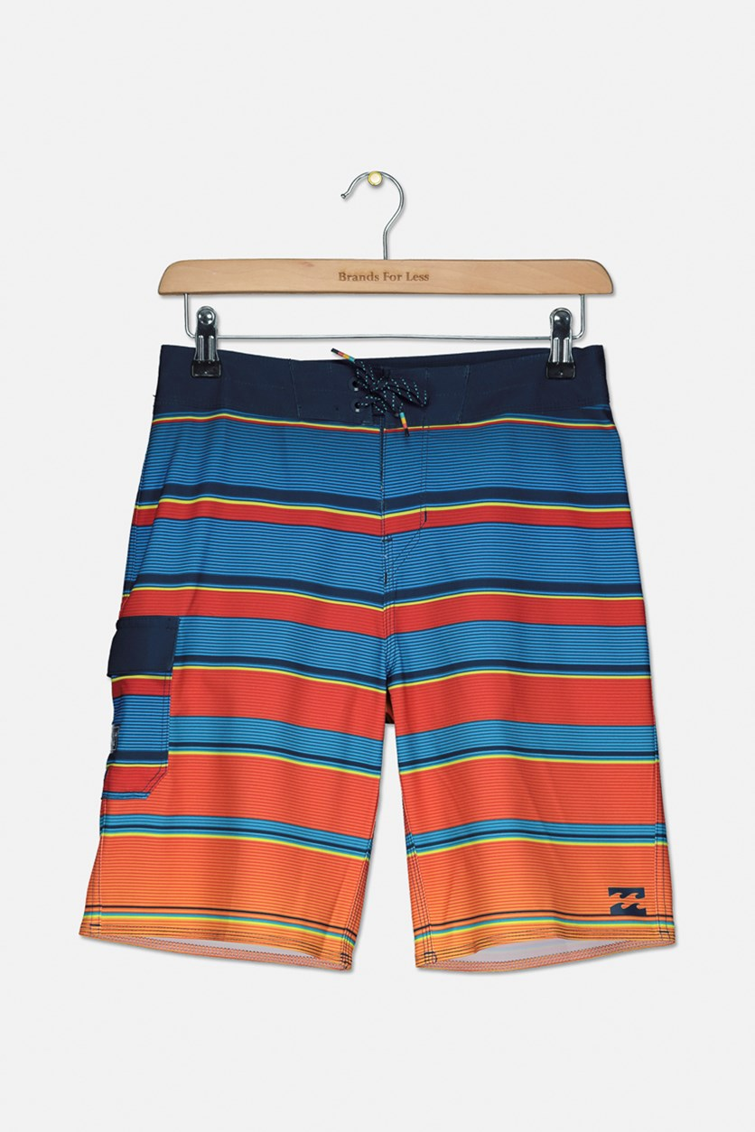 Kids Boys All Day x Stripe Board Shorts, Blue Combo