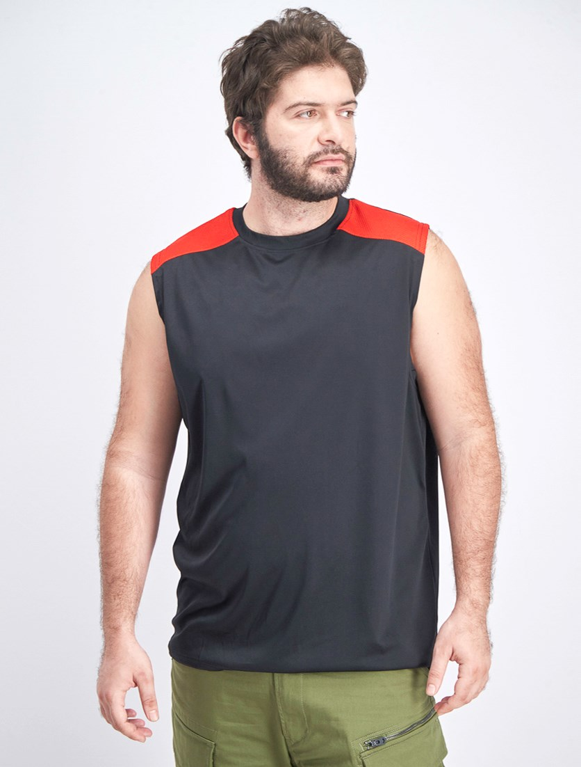 Men's Sleeveless Wicks Moisture Away, Black/Red