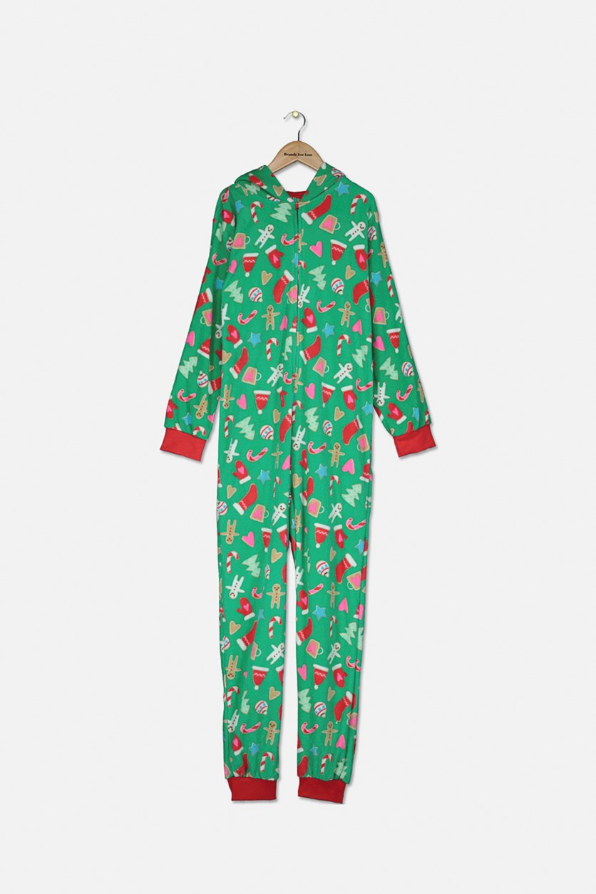 Hooded Holiday-Print Coverall, Green Combo