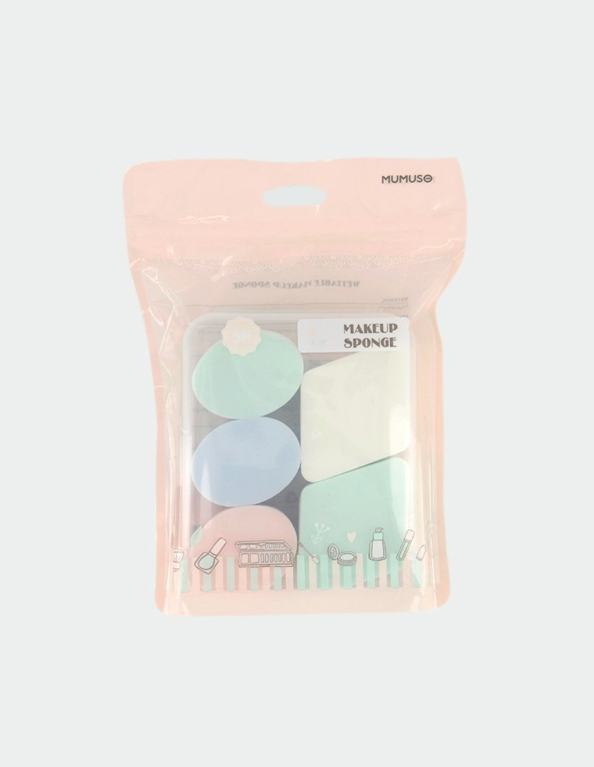 5-Pieces Makeup Sponge, Green/Blue/Pink/White
