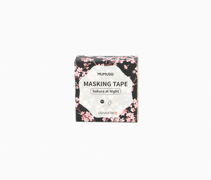 Sakura At Night Masking Tape, Black/Pink